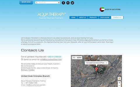Screenshot of Contact Page aquadeadsea.com - Aqua Therapy Contacts - captured Nov. 21, 2016