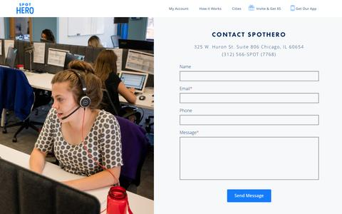 Screenshot of Contact Page spothero.com - Contact | SpotHero - captured Feb. 26, 2017