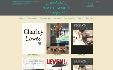 Screenshot of Press Page myflame.nl - Media-My Flame Lifestyle - kaarsen - captured Oct. 7, 2014
