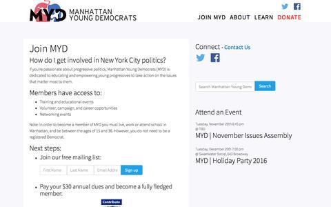 Screenshot of Signup Page gomyd.com - Join MYD | Manhattan Young Democrats - captured Nov. 18, 2016