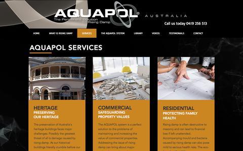 Screenshot of Services Page aquapol.com.au - Aquapol Australia | Rising damp specialists | SERVICES - captured Oct. 8, 2017