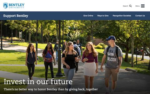 Screenshot of Support Page bentley.edu - Support Bentley | Bentley University - captured June 12, 2019