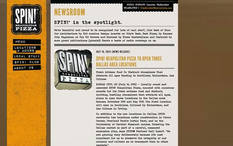 Screenshot of Press Page spinpizza.com - Newsroom | SPIN! Pizza - captured Sept. 23, 2014