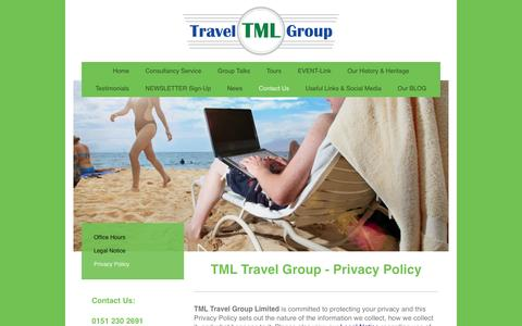 Screenshot of Privacy Page tml-travel-group.com - TML TRAVEL GROUP - Privacy Policy - captured Dec. 6, 2016