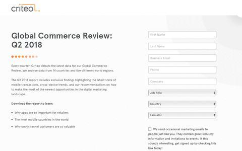 Screenshot of Landing Page criteo.com - Global Commerce Review: Q2 2018 - captured Nov. 16, 2018