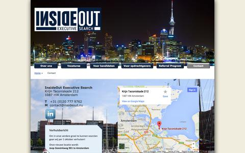 Screenshot of Contact Page insideout.nu - Contact - captured Oct. 6, 2014