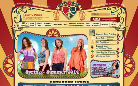 Screenshot of Home Page gypsyrose.com - Gypsy Rose: Cool Hippie Stuff - captured Sept. 24, 2014