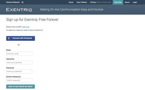 Screenshot of Trial Page exentriq.com - Exentriq - Sign Up - captured Oct. 4, 2014