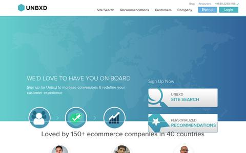 Screenshot of Signup Page unbxd.com - Product Recommendations & Site Search for Ecommerce Companies   Unbxd - captured Oct. 30, 2014