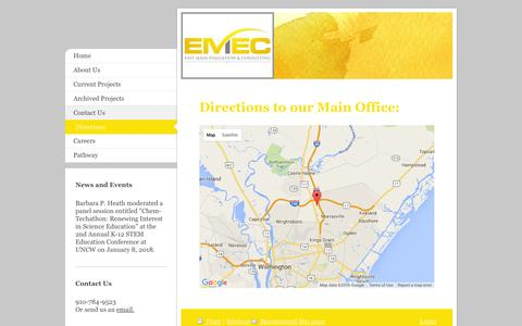 Screenshot of Maps & Directions Page emeconline.com - East Main Evaluation & Consulting, LLC - Directions - captured Jan. 25, 2016