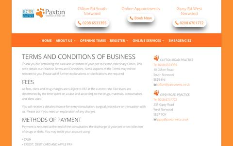 Screenshot of Terms Page paxtonvets.co.uk - Terms and Conditions   Paxton Vets South London - captured Sept. 27, 2018