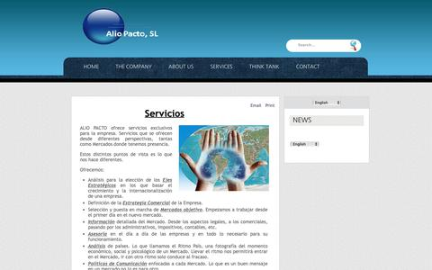 Screenshot of Services Page aliopacto.es - SERVICES - captured Oct. 3, 2018