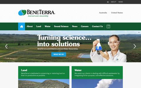Screenshot of Home Page beneterra.com - BeneTerra - Land & Water Stewardship - captured Dec. 31, 2015