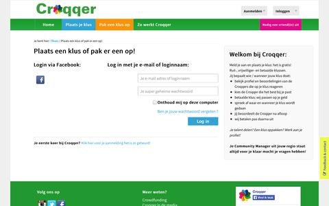 Screenshot of Login Page croqqer.com - Plaats een klus of pak er een op! - Croqqer - captured Sept. 23, 2014