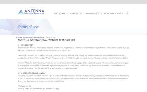 Screenshot of Terms Page antennainternational.com - Terms of Use - Antenna International - captured Dec. 25, 2015