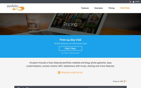 Screenshot of Signup Page Pricing Page zenfolio.com - Pricing - Zenfolio - captured Oct. 22, 2014