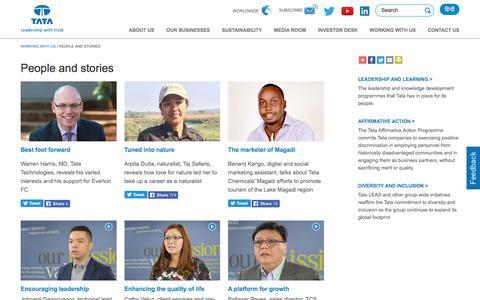 Screenshot of tata.com - People and stories - Careers - Tata group - captured Aug. 22, 2017