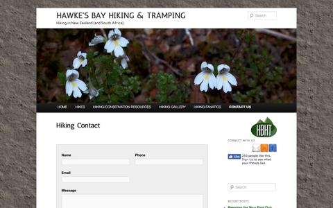 Screenshot of Contact Page hbht.co.nz - Go hiking in NZ - Contact us | Hawke's Bay Hiking & Tramping - captured April 11, 2017