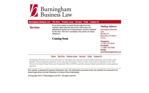 Screenshot of Services Page burninghamlaw.com - Burningham Business Law, Intellectual Property, Litigation, and General Corporate Counsel - captured Oct. 5, 2014