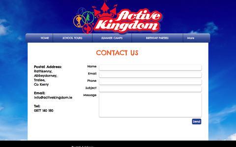 Screenshot of Contact Page activekingdom.ie - Contact Us - captured May 29, 2017