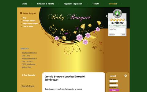 Screenshot of Press Page babybouquet.it - Cartella Stampa e Download Immagini BabyBouquet - captured Oct. 6, 2014