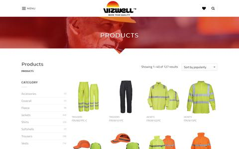 Screenshot of Products Page vizwell.com - Products Archive - Vizwell - More than quality - captured Oct. 20, 2018