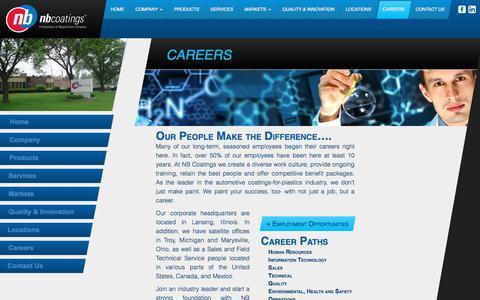 Screenshot of Jobs Page nbcoatings.com - Careers - NB Coatings - captured Nov. 2, 2017