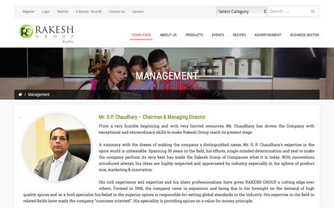 Screenshot of Team Page rakeshgroup.com - Management - captured Oct. 19, 2017