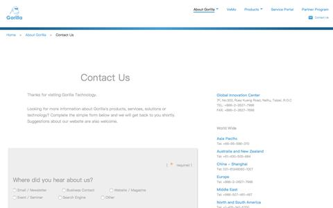 Screenshot of Contact Page gorilla-technology.com - Contact Us - captured Sept. 6, 2017