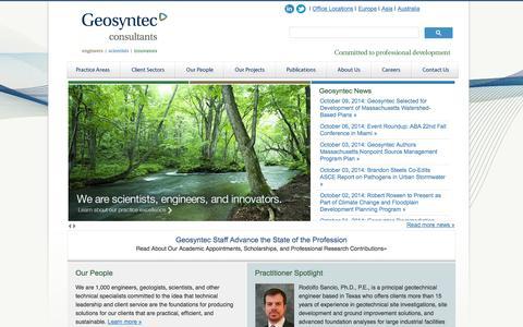 Screenshot of geosyntec.com - Geosyntec Consultants - Engineers and Scientists - captured Oct. 11, 2014