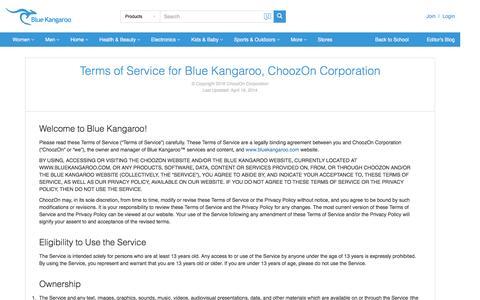 Screenshot of Terms Page bluekangaroo.com - Terms | Blue Kangaroo - Your Smart Personal Shopper | Deals, Coupons, and Social Shopping - captured Sept. 9, 2016