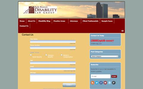 Screenshot of Contact Page rmdlg.com - Contact Us - Rocky Mountain Disability Law Group - captured Oct. 7, 2014