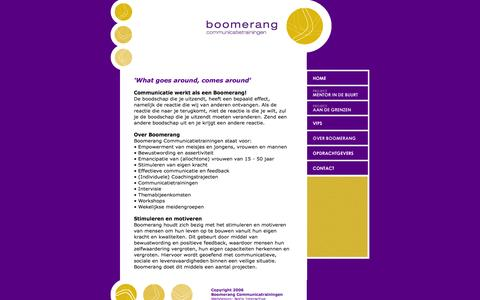 Screenshot of Home Page boomerang-ct.nl - Boomerang Communicatietrainingen - captured Feb. 7, 2016