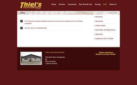 Screenshot of FAQ Page thielscollisioncenter.com - Thiel's Collision Center – Chamberlain, SD -   FAQ - captured Oct. 18, 2018