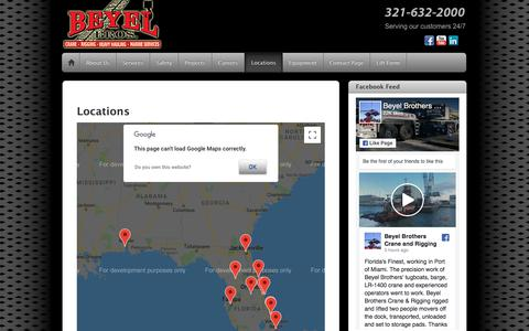 Screenshot of Locations Page Maps & Directions Page beyel.com - Locations - captured Sept. 24, 2018