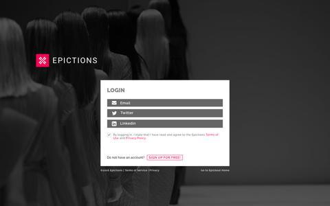 Screenshot of Login Page epictions.com captured Feb. 12, 2016