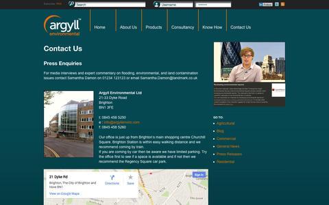 Screenshot of Contact Page argyllenvironmental.co.uk - Contact Us - Argyll Environmental - captured Oct. 4, 2014