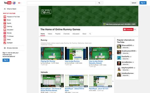 Screenshot of YouTube Page youtube.com - The Home of Online Rummy Games  - YouTube - captured Nov. 5, 2014