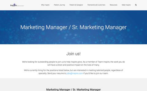 Screenshot of Jobs Page inspire.com - Marketing Manager / Sr. Marketing Manager | Join our team! • INSPIRE - captured July 5, 2017
