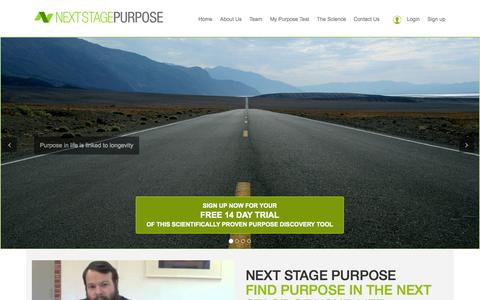 Screenshot of Home Page nextstagepurpose.com - Discover the Purpose of Your life to be Happier & Healthier - captured Jan. 27, 2015