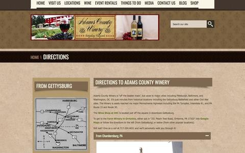Screenshot of Maps & Directions Page adamscountywinery.com - Directions to Adams County Winery-Adams County Winery - captured July 29, 2018