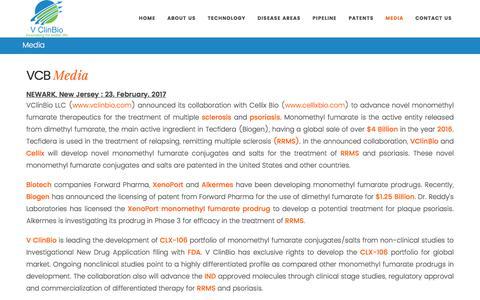 Screenshot of Press Page vclinbio.com - Media | V ClinBio is an Innovative Biopharmaceutical Company - captured June 10, 2017