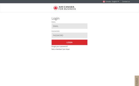 Screenshot of Login Page aircanada.com - Air Canada for Business Login Page - captured June 4, 2019