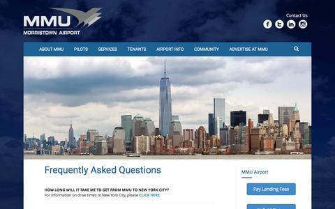Screenshot of FAQ Page mmuair.com - FAQ's | Morristown Airport New Jersey - captured Nov. 23, 2016