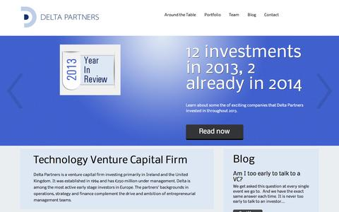 Screenshot of Home Page deltapartners.com - Delta Partners | Transforming great ideas into great companies - captured Oct. 1, 2014