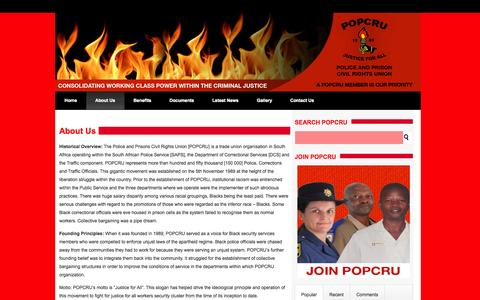 Screenshot of About Page popcru.org.za - About Us   Police and Prisons Civil Rights Union - captured Oct. 3, 2014