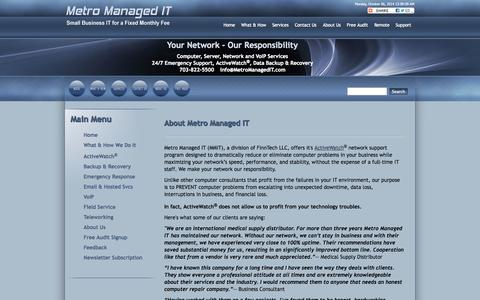 Screenshot of About Page finntechit.com - MMIT - About Metro Managed IT - captured Oct. 6, 2014
