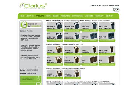 Screenshot of Products Page advanced-led-technology.com - Clarius Infrared & White Light Illuminators | CCTV Lighting | Night Vision | CCTV Security & Surveillance Systems | LED Light | White Flood Light - captured Oct. 4, 2014