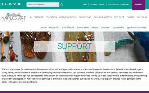 Screenshot of Support Page naplesart.org - Support - Naples Art Association | Naples Art Association - captured Oct. 20, 2018