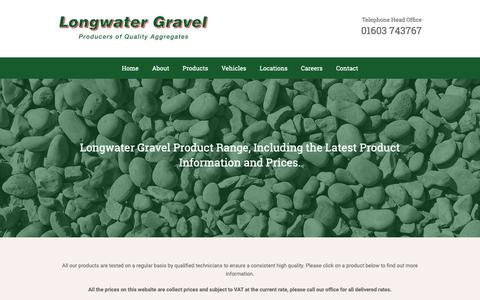 Screenshot of Products Page longwatergravel.co.uk - Sand and Gravel - Decorative Aggregates in Norfolk - captured Nov. 11, 2018